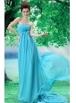 Custom Made Baby Blue 2013 Prom Dress Hand Made Flower and Ruch In Graduation