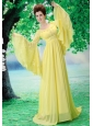 Custom Made For Prom Dress With Scoop Long Sleeves Yellow