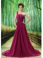 Custom Made Fuchsia One Shoulder Appliques Prom Dress Beaded Decorate Bust In Formal Evening