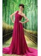 Custom Made Fuchsia One Shoulder Ruched Bodice Prom Dress Beaded Decorate Bust In Formal Evening