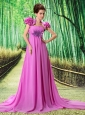 Custom Made Lavender 2013 Prom Dress Hand Made Flower and Ruch