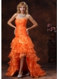 Custom Made Orange Red High-low Ruched Bodice 2013 Prom Dress With Organza