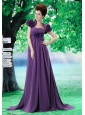 Custom Made Purple 2013 Prom Dress Hand Made Flower and Ruch In Graduation