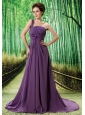 Custom Made Purple One Shoulder Appliques Prom Dress Beaded Decorate Bust In Formal Evening