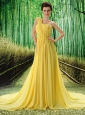 Custom Made Yellow One Shoulder Ruched Bodice Prom Dress Beaded Decorate Bust In Formal Evening