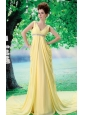 Customize V-neck Yellow 2013 Prom Dress With Beading and Ruch In Celebrity