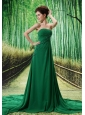 Dark Green Chapel Train Beaded Appliques Chiffon 2013 New Styles Custom Made Prom Gowns