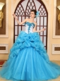 Fashionable Sweetheart Beading Aqua Blue Chapel Train Ball Gown Quinceanera Dress