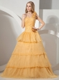 Gold Ruffled Layeres One Shoulder Prom Dress With Hand Made Flowers Beading