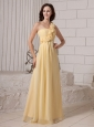 Hand Made Flowers One Shoulder Light Yellow Chiffon Custom Made 2013 Prom Gowns