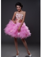 Handle-Made Flowers A-Line Tulle Strapless Mini-length Pink Prom Dress