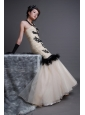Mermaid / Trumpet Appliques Strapless Champagne Organza Prom Dress Floor-length