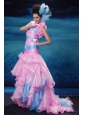 Mermaid / Trumpet Pink and Aqua Blue Organza Brush / Sweep Strapless Prom Dress