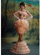 Mermaid Ruffled Layers Organza Beading Brush Train 2013 Prom Dress