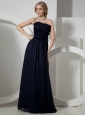 Navy Blue Hand Made Flowers Mother Of The Bride Dress Chiffon For Custom Made