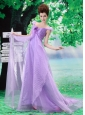 Off Shoulder Neckline Lavender A-line Organza Custom Made 2013 Prom Gowns With Court Train