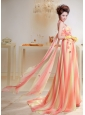 Ombre Color Appliques Chiffon Brush Train Prom / Evening Dress For Custom Made