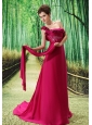 One Shoulder Embroidery Decorate Bust Chiffon Watteau Train 2013 Prom / Evening Dress