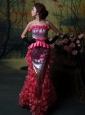 Paillette Over Skirt Strapless Sequins Prom Dress Mermaid Hot Pink Floor-length