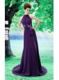 Purple High-neck In Salem For 2013 Prom Dress With Sash and Hand Made Flowers