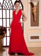 Red V-neck For Prom Dress With Lace adn Chiffon