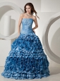 Ruffled Layers Appliques and Ruch For Quinceanera Dress