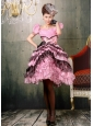 Ruffled Layers Square Knee-length For Baby Pink and Black Prom Dress Cap Sleeves