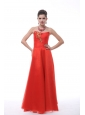 Rust Red Strapless Neckline For Prom With Embroidery Decorate Organza Prom Dress