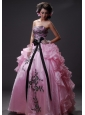 Saint Appliques With Beading Decorate Bodice Bowknot Ruffled Layers Floor-length Ball Gown Quinceanera Dress For 2013