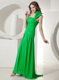 Spring Green One Shoulder Prom Dress With Ruch Decorate Chiffon