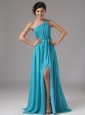 Strapless Chiffon High Slit Aqua Blue Brush / Sweep Prom Dress Ruched