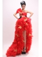 Strapless High-low For 2013 Prom Dress With Appliques Bowknot and Ruffles