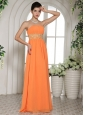 Stylish Orange Red Beading and Ruch Prom Dress With Strapless
