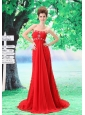 Sweetheart Lace Column / Sheath Red Brush / Sweep 2013 Prom Dress