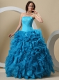 Teal Beaded Decorate Bust and Ruffles For Quinceanera Dress
