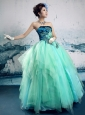 Turquoise Organza Hand Made Flowers Strapless A-line 2013 New Styles Customize Quinceanera Gowns