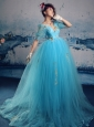 V-neck Floor-length Aqua Blue Appliques Prom Gowns With Floor-length Romantic Customize
