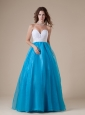 White and Blue Sweetheart Beaded Decorate Waist Prom Dress For Custom Made