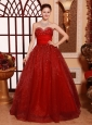 Wine Red Sweetheart A-line Floor-length Sweet 16 Quinceanera Dress Custom Made Hottest