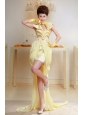 Yellow Lovely Sweetheart Applqiues Decorate Bust Prom Dress With High-low Chiffon For Party