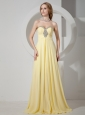 Yellow Sweetheart Beaded Chiffon Prom / Evening Dress With Brush Train For Custom Made