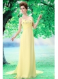 Yellow V-neck Empire Chiffon Watteau Yellow Prom Dress
