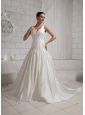 2013 Appliques With Beading V-neck Wedding Dress With Cathedral Train For Custom Made