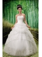 2013 Custom Made Sweetheart Lace Wedding Dress With Pick-ups