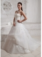 2013 Gorgeous Appliques Court Train Wedding Dress With Clasp Handle For Custom Made
