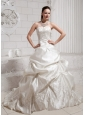 2013 Pick-ups and Embroidery Wedding Dress With Chapel Train Taffeta