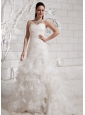 2013 Sweetheart Appliques and Ruffles For Wedding Dress With Court Train