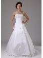 A-line Romantic Wedding Dress With Lace Strapless Brush Train