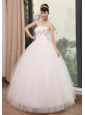 Beaded Decorate Up Bodice Strapless Tulle Floor-length 2013 Wedding Dress