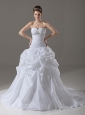 Beading Column Sweetheart Elegant Taffeta Wedding Dress Court Train